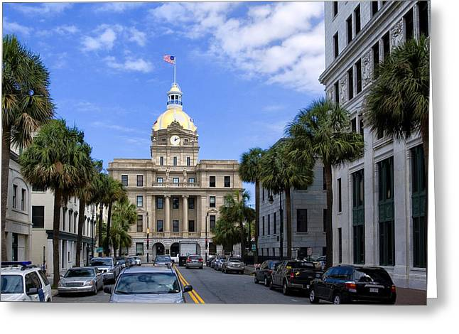 Deep River County Park Greeting Cards - Savannah City Hall Greeting Card by Diana Powell