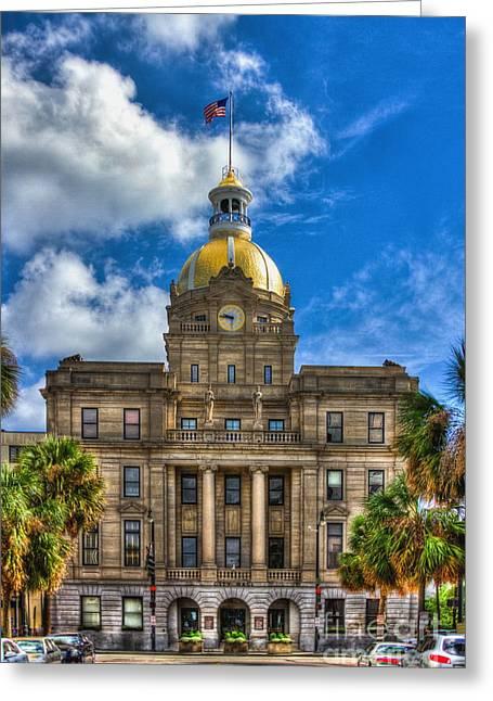 Juliette Low Greeting Cards - Savannah City Hall Greeting Card by Reid Callaway