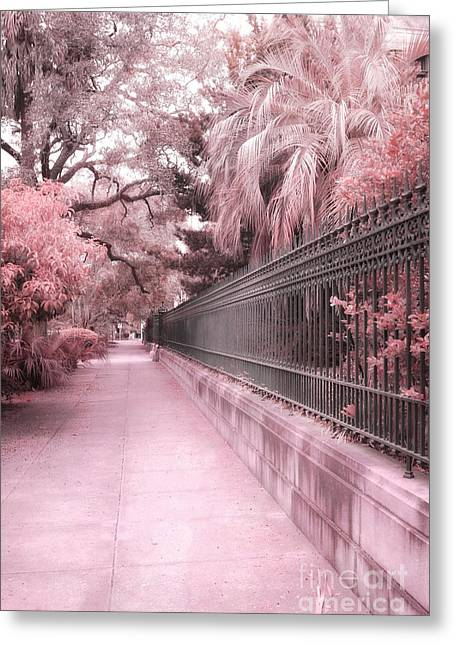 Savannahs Greeting Cards - Savannah Dreamy Pink Rod Iron Gate Fence Architecture Street With Palm Trees  Greeting Card by Kathy Fornal