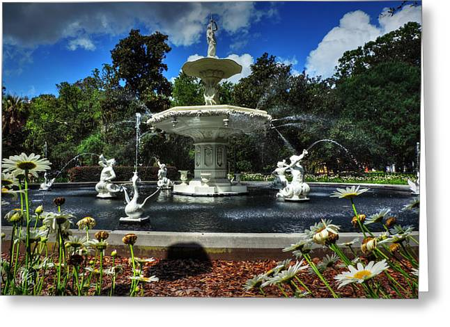 Savannah Parks Gardens Greeting Cards - Savannah - Forsyth Park Fountain 001 Greeting Card by Lance Vaughn