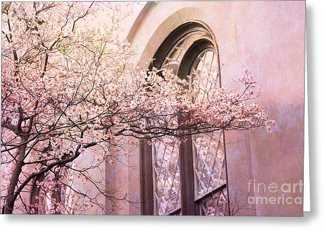 Art Nouveau Greeting Cards - Savannah Georgia Church Window With Pink Floral Trees Nature  Greeting Card by Kathy Fornal