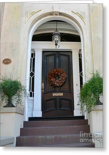 Photo Southern Greeting Cards - Savannah Georgia Door Architecture - Savannah Victorian Homes Doors  Greeting Card by Kathy Fornal