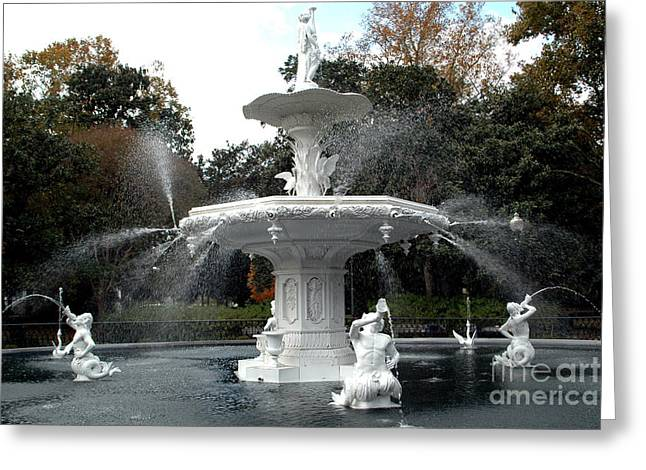 Savannah Dreamy Fountain Park Scene Greeting Cards - Savannah Georgia Forsythe Fountain - Forsythe Fountain Square Dreamy Landscape  Greeting Card by Kathy Fornal