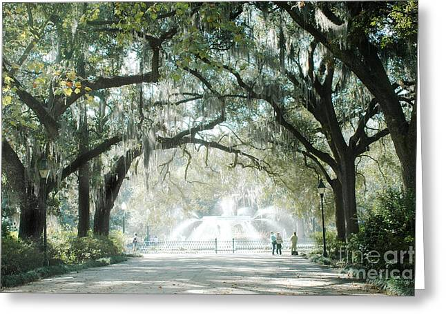 Surreal Photography Greeting Cards - Savannah Georgia Forsyth Fountain Oak Trees With Moss Greeting Card by Kathy Fornal