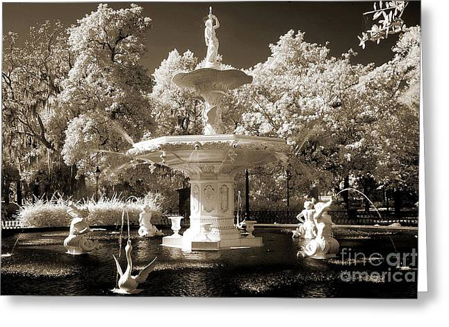 Savannahs Greeting Cards - Savannah Georgia Fountain - Forsyth Fountain - Infrared Sepia Landscape Greeting Card by Kathy Fornal