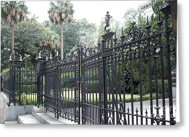 Old South Greeting Cards - Savannah Georgia Mansion With Black Rod Iron Gates Greeting Card by Kathy Fornal