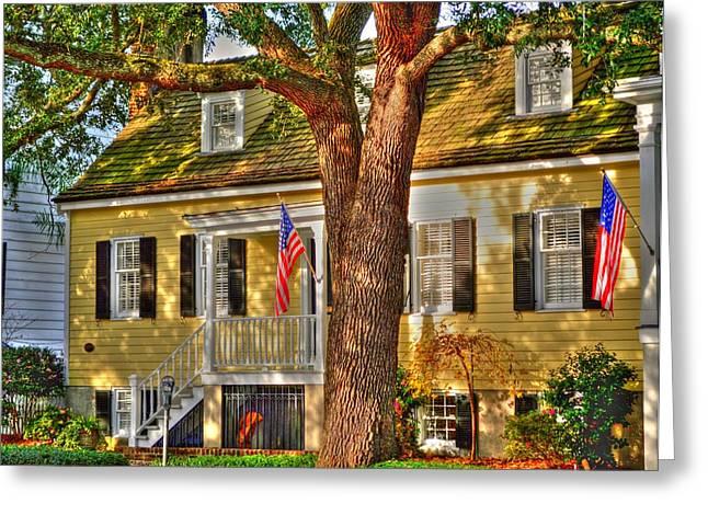 Patriotic Savannah Greeting Cards - Savannah historic district Greeting Card by Linda Covino