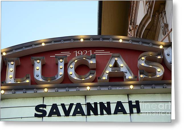 1921 Greeting Cards - Savannah Lucas Theatre 1921 - Vintage Historical Lucas Theatre Sign Savannah Georgia  Greeting Card by Kathy Fornal