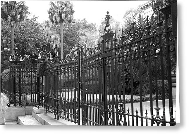 Old South Greeting Cards - Savannah Mansions Black and White Rod Iron Gate - Savannah Black Gate Architecture Greeting Card by Kathy Fornal