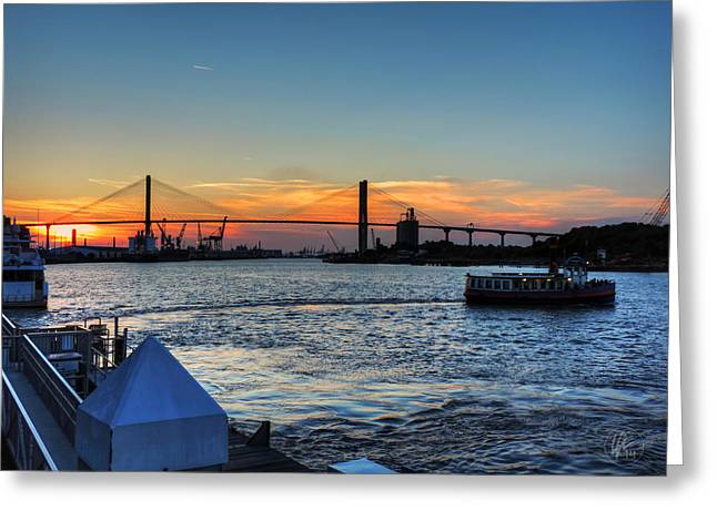 Bridges Greeting Cards - Savannah River 001 Greeting Card by Lance Vaughn