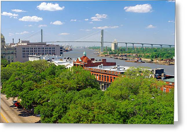 Park Scene Greeting Cards - Savannah River, Savannah, Georgia Greeting Card by Panoramic Images