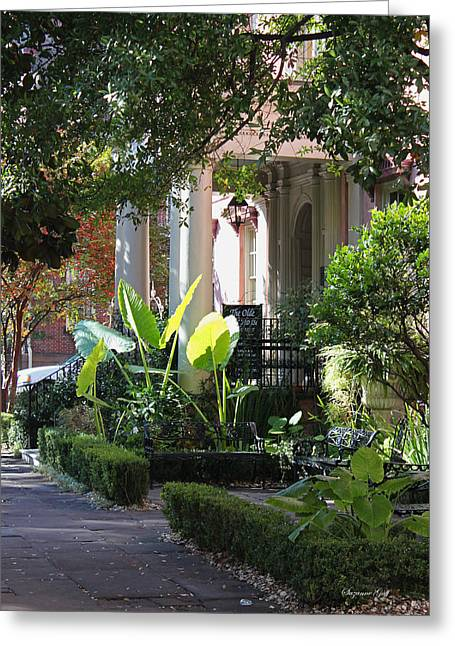 Historic Home Greeting Cards - Savannah Scenic Greeting Card by Suzanne Gaff