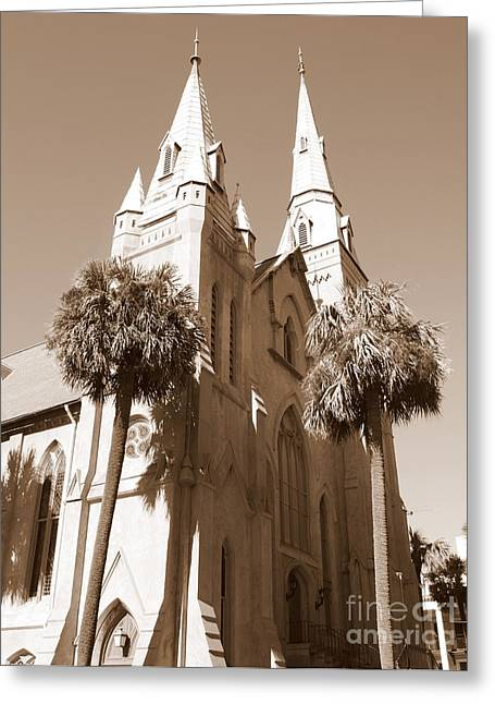 Best Seller Greeting Cards - Savannah Sepia - Methodist Church Greeting Card by Carol Groenen