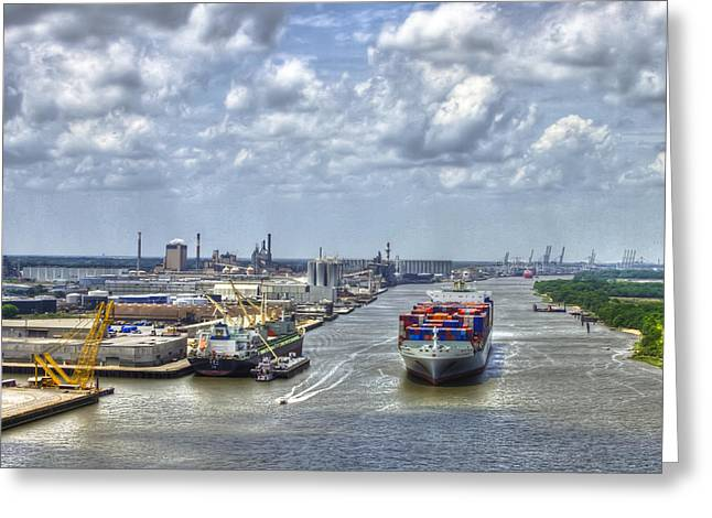 Gpa Greeting Cards - Port of Savannah Shipping Headed Out Greeting Card by Reid Callaway