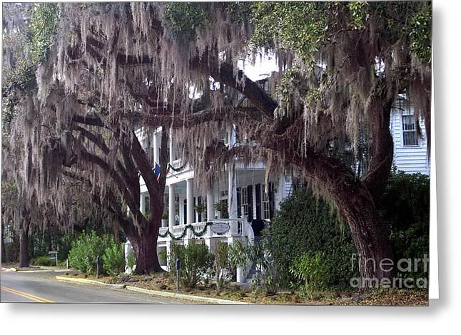 Savannah Victorian Mansion Hanging Moss Trees Greeting Card by Kathy Fornal