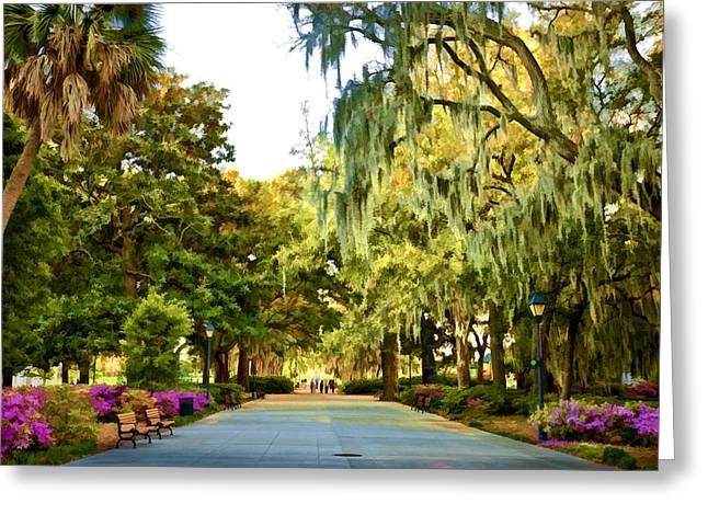 Juliette Low Greeting Cards - Savannah Walk Greeting Card by Diana Powell
