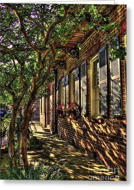 Shady Street Greeting Cards - Savannah Window Boxes Greeting Card by Reid Callaway