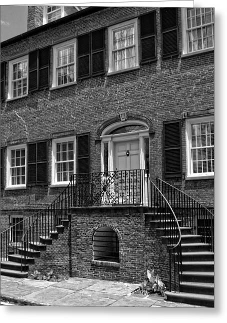 District Columbia Greeting Cards - Savannahs Davenport House in Black and White Greeting Card by Greg and Chrystal Mimbs