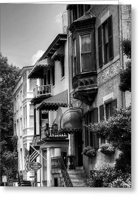 Houses Bed And Breakfast Greeting Cards - Savannahs Foley House Inn in Black and White Greeting Card by Greg and Chrystal Mimbs