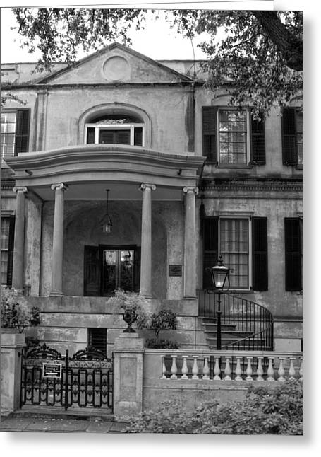 Abercorn Greeting Cards - Savannahs Owens - Thomas House in Black and White Greeting Card by Greg and Chrystal Mimbs