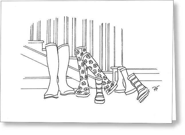 Muck Drawings Greeting Cards - Save it for a rainy day Greeting Card by Roisin O Farrell