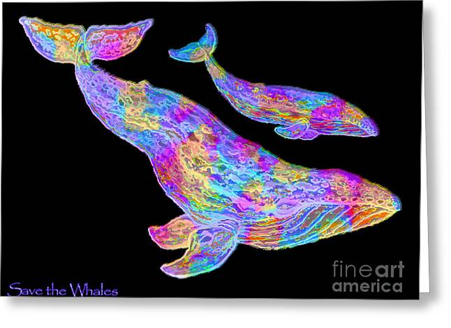 Save The Whales Greeting Cards - Save the Whales 2 Greeting Card by Nick Gustafson