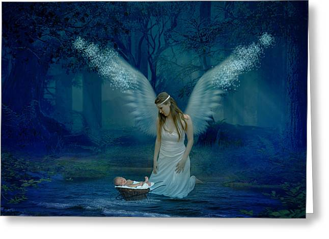 Seraphim Angel Greeting Cards - Saved By An angel Greeting Card by Ester  Rogers