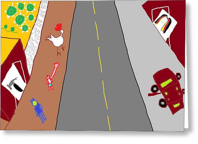 Hardware Drawings Greeting Cards - Saving Chickens Greeting Card by Anita Dale Livaditis