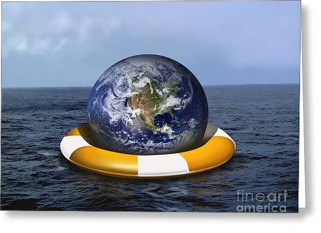 Rising Sea Level Greeting Cards - Saving Earth, Conceptual Illustration Greeting Card by Gwen Shockey
