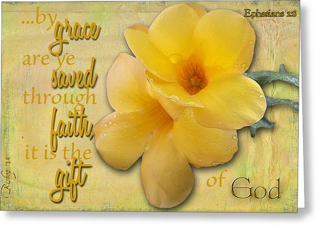 Floral Digital Art Greeting Cards - Saving Grace Greeting Card by Larry Bishop