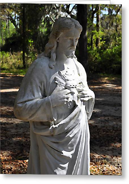 Jesus Christ Images Digital Art Greeting Cards - Savior Statue Greeting Card by Al Powell Photography USA