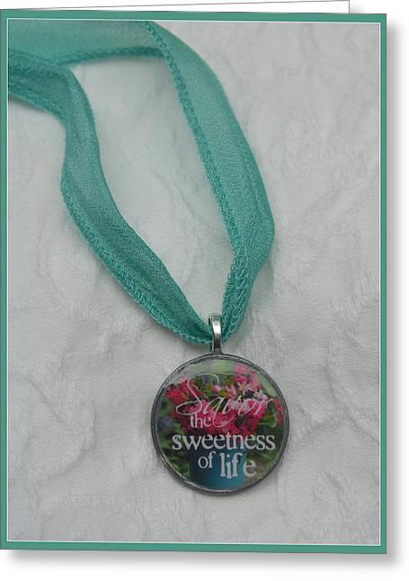 Glass Necklace Jewelry Greeting Cards - Savor the Sweetness Pendant Greeting Card by Carla Parris