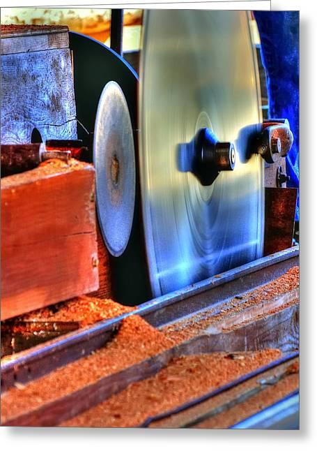 Saw Greeting Cards - Saw Mill Blade 23147 Greeting Card by Jerry Sodorff