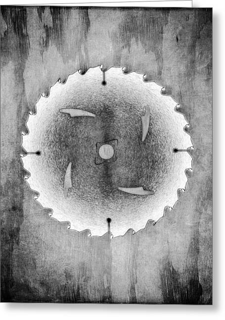Saw Blade Greeting Cards - Sawblade BW Greeting Card by YoPedro