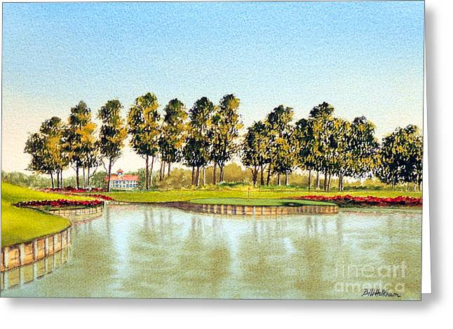 Clubhouse Greeting Cards - Sawgrass 17Th Hole Greeting Card by Bill Holkham