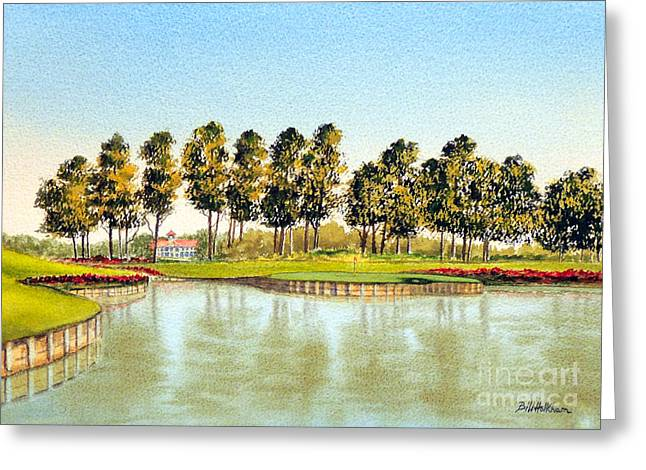 Recently Sold -  - Jacksonville Greeting Cards - Sawgrass 17Th Hole Greeting Card by Bill Holkham