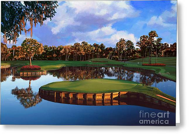 Golf Hole Greeting Cards - Sawgrass 17th Hole Greeting Card by Tim Gilliland