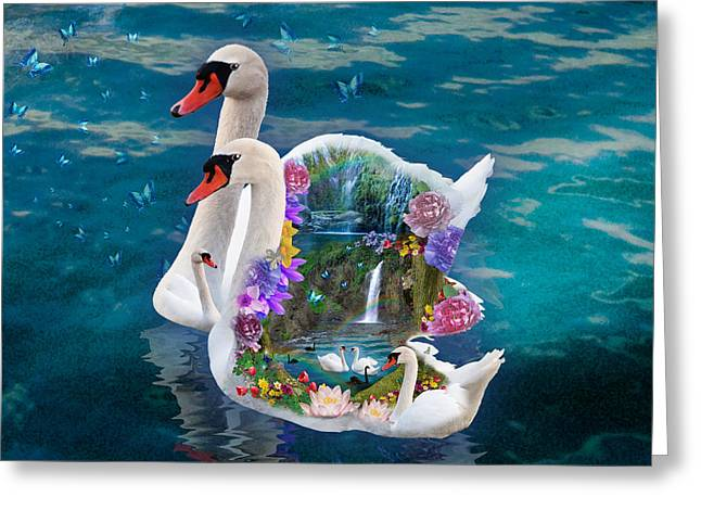 Swans... Greeting Cards - Sawn Paradise Greeting Card by Alixandra Mullins