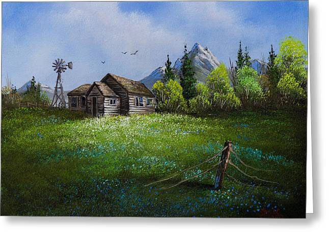 Bob Ross Paintings Greeting Cards - Sawtooth Mountain Homestead Greeting Card by C Steele