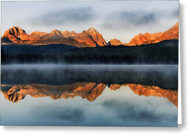 Reflections Of Sun In Water Greeting Cards - Sawtooth mountain range Panorama Greeting Card by Vishwanath Bhat