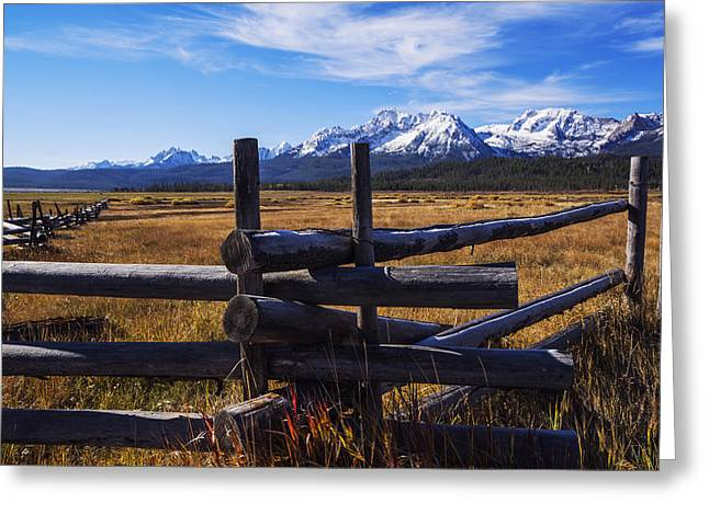 Sawtooth Mountain Art Greeting Cards - Sawtooth mountains and wooden fence Greeting Card by Vishwanath Bhat