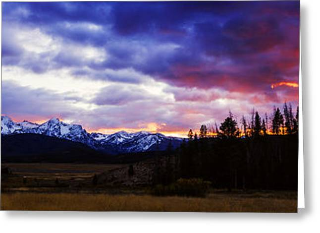 Sawtooth Mountain Art Greeting Cards - Sawtooth sunset panorama Greeting Card by Vishwanath Bhat