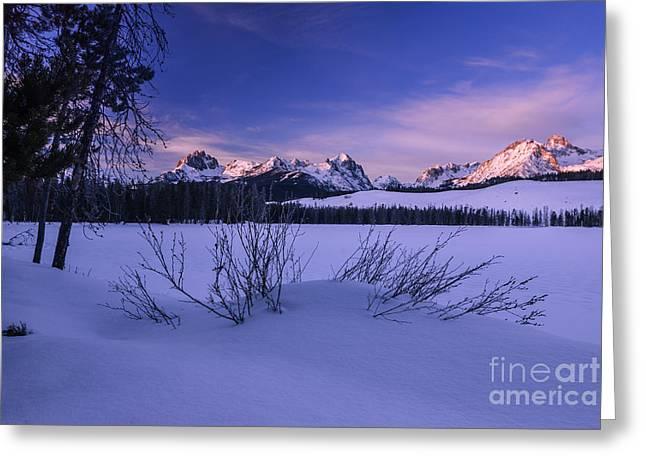 Powder Snow Greeting Cards - Sawtooth winter sunrise in stanley Idaho Greeting Card by Vishwanath Bhat