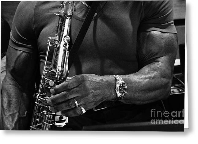 Saxaphone Greeting Cards - Sax In The City 4 Greeting Card by Bob Christopher