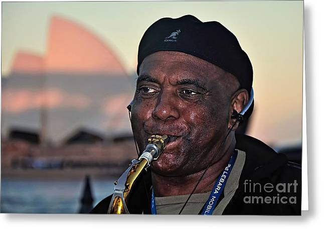 Playing Musical Instruments Greeting Cards - Sax in the City Greeting Card by Kaye Menner