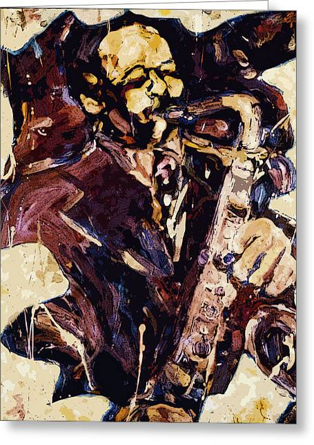 Improvisational Greeting Cards - Sax Man One Greeting Card by Faye Cummings