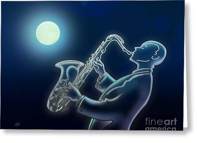 Soft Light Mixed Media Greeting Cards - Sax-o-moon Greeting Card by Bedros Awak