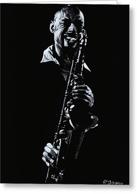 Celebrities Pastels Greeting Cards - Sax Player Greeting Card by Richard Young