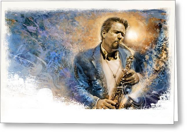 Art Of Soul Music Greeting Cards - Sax Talk Greeting Card by Rip Kastaris
