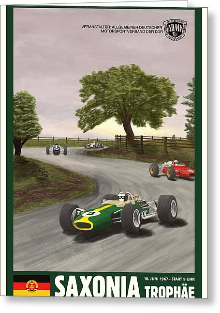 Saxony Greeting Cards - Saxony Germany Grand Prix 1967 Greeting Card by Nomad Art And  Design